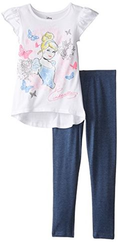 Evy Childrens Apparel Disney Little Girls Cinderella Top and Legging Set 6 White/pink for sale online Disney Girls, Baby Disney, Girls Dress Up, Lace Sweatshirt, Tops For Leggings, Little Girls, Girl Outfits, Fashion Dresses, Cinderella
