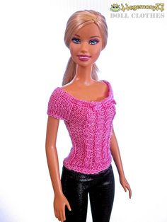 Barbie doll in hand knitted pink dream top