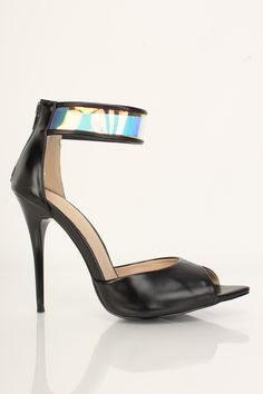 3f28687ed71 Black Holographic Single Sole High Heels Faux Leather