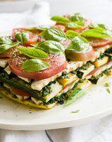 pesto grilled vegan lasagna --spinach zucchini, fresh mozza, tomato and basil Raw Food Recipes, Veggie Recipes, Italian Recipes, Vegetarian Recipes, Cooking Recipes, Healthy Recipes, Vegan Meals, Pesto Lasagna, Veggie Lasagna