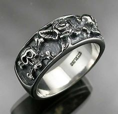Skull Crossbones And Rose Ring Perfect For Wedding Bands
