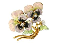 """Edwardian Love Token """"Think of Me"""" Pansy Brooch - enamel, diamond and pearl"""