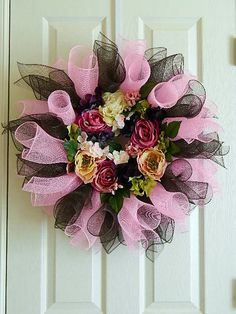 Poly Deco Mesh Wreath for Spring in Chocolate and by BellaFrog, $54.00