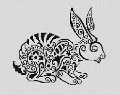Counted Cross Stitch Pattern, Nursery Art, New Baby, Animals, Rabbit, Spirals, Instant PDF Download