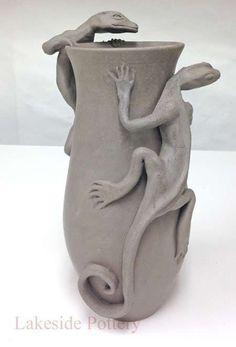 lizard hand built vase