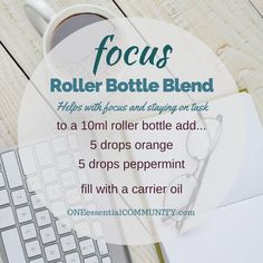 """""""focus"""" roller bottle blend helps with focus and staying on task-- LOVE this!! amazing find! there are tons of great roller bottle blends {and FREE super cute labels} for all kinds of emotions-- calm, focus, grounding, balance, gratitude, happy, energy, comfort, motivation, courage, confidence, cheer, creativity, and more!!"""