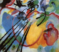 10. Improvisation 26 (Rowing), 1912An improvisation on music. Kandinsky often titled his works as musical pieces, calling them improvisations and compositions. - An anecdote says that Kandinsky only thought he had finished the painting once his assistant accidentally turned it to its side – the change of perspective changed the overall impression of the piece and made it perfect.