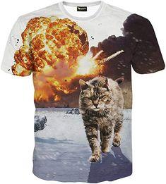 2017 NEW Kitten Laser Cats Print Shirts Surprised T-shirt Fluffy Cuddly  Terrified Cat Faces Awesome Women Men Summer t shirt 256db7a367e7