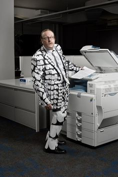 """office attire made from office supplies...I love the """"butt photocopy"""" suit!"""