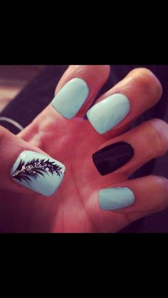 Mint & Black + Feather Nail Art