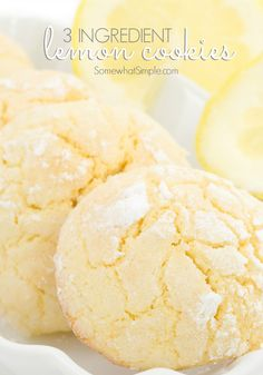 Lemon Cake Mix Cookies are soft & delicious lemon cookies made using a Lemon Cake Mix, butter and eggs. Topped with a sweet lemon glaze, this quick & easy lemon cake mix cookie recipe is the best! from BUTTER WITH A SIDE OF BREAD Lemon Desserts, Lemon Recipes, Köstliche Desserts, Delicious Desserts, Dessert Recipes, Lemon Cookies Easy, Lemon Cake Mix Cookies, Lemon Cake Mixes, Cool Whip Cookies