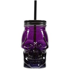 Purple Skull Jar with Lid By Ashland ❤ liked on Polyvore featuring home, kitchen & dining, food storage containers, lid jar, purple jars and skull jar
