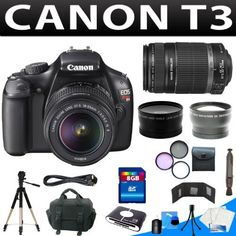 Canon EOS Rebel T3 Digital Camera + Canon Ef-s 18-55mm F/3.5-5.6 Is Autofocus Lens + Canon Canon Ef-s 55-250mm F/4-5.6 Is Autofocus Lens + 8gb Complete Professional Camera Bundle by Zm. $629.15