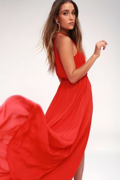 847d625a21037 Be the foremost authority in comfy fashion with the Essence of Style Red  Maxi Dress!