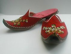 Vintage Red Genie Slippers - Turkish Harem Shoes - Curled Toe Leather Soles and Sequined - Children Size 6 Shoes