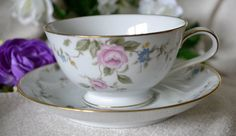 Pink Rose Teacup,  Noritake China, Floral Teacup, Firenze, Bone China Teacup, Vintage Teacup and Saucer, Floral China