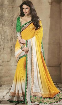 Revel in a feeling of stardom dressed in this yellow and green shade cotton silk georgette saree. Beautified with butta and lace work all synchronized well with all the pattern and style and design of the attire. #StylishEveningWearSari
