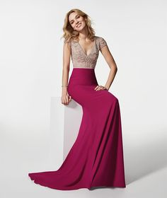 Photo of the pink cocktail dress (62074) GREMIA long dress short sleeves