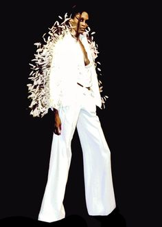 Lloyd Klein wide-leg pants and blousson with sculpted feather overlay on Jacket for Spring Summer