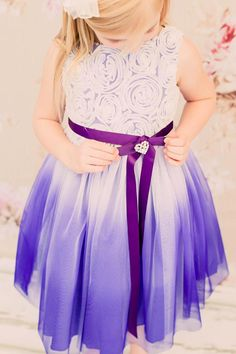 6f4d57b1 Purple Ombré Dyed Tulle Dress w/Floral Ribbon Bodice. A pretty little dress  for