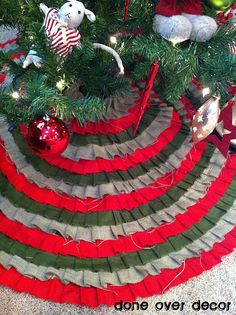No sew! 3 colored tree skirt!