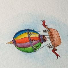 """Finishing touches to the #hotairballoon. (about 2"" tall) I'm doing several Little Tinies this weekend. #watercolor #psrock #pamelacorwin (About 2"" tall)  #paperscissorsrock #pikeplaceproducers #colorful #art #fun"" Photo taken by @paperscissorsrockstudio on Instagram, pinned via the InstaPin iOS App! http://www.instapinapp.com (04/26/2015)"