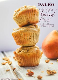 Grain free and packed full of fiber, these pear spiced muffins are ...