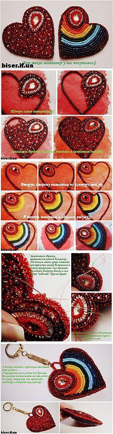 Clase magistral del grano del corazón bordado