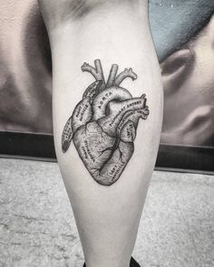 Anatomical Heart Tattoo on Calf by thomasetattoos
