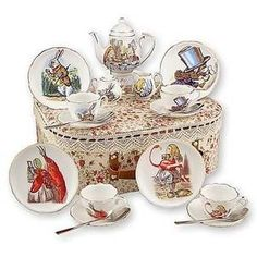 Reutter Porcelain Kid's Alice In Wonderland Medium Tea Party Set. I would be thrilled to be able to give this tea set to my niece~ Childrens Tea Sets, Tea Party Setting, Alice In Wonderland Tea Party, Mad Hatter Tea, Cup And Saucer, Tea Pots, Tableware, Kitchenware, Tea Time