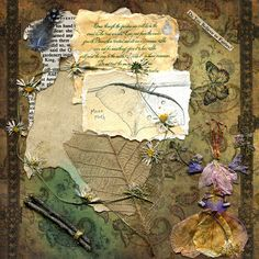 Beautiful page with pressed flowers ~ Natalee May. She has a lovely blog, http://www.thetanglewoodtales.com/ #journal #art