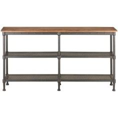 Home Decorators Collection Gentry Distressed Oak Console Table 9492400810 at The Home Depot - Mobile