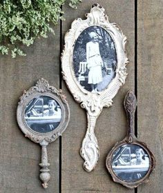 Hand Mirror Photo Frames – farmhouse – frames – other metro – by A Cottage in th… Handspiegel Bilderrahmen – Bauernhaus – Rahmen – andere Metro – von A Cottage in the City Objets Antiques, Mirror Photo Frames, Shabby Chic Picture Frames, Picture Frame Crafts, Vintage Photo Frames, Antique Picture Frames, Vintage Pictures, Decorate Picture Frames, Antique Frames