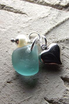 Sea glass cluster necklace ... Love sea glass.