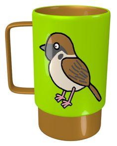 Tree Sparrow Mug / #Tableware #Animal #Bird #スズメ