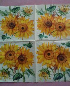 Decoupage Napkins 2 Sunflower Paper Napkins Decoupage Paper