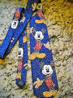Disney The Rak Mosaic Mickey Mouse Blue Tie 100% silk Free Shipping Italy Ears  $19.50