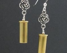 Bullet Earrings - Bullet Jewelry - Guns and Roses - 22 Caliber Bullet Earrings - Dangle Bullet Earrings, Guns N Roses Earrings, Fun Earring Bullet Earrings, Bullet Jewelry, Brass Jewelry, Jewelry Shop, Jewelry Art, Jewelery, Dangle Earrings, Jewelry Making, Jewelry Ideas