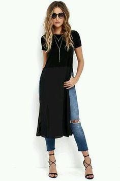 Jeans & slit dress