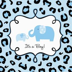 It�s a Boy!  Our Sweet Safari Boy Drink Napkins feature the Sweet Safari momma elephant and her baby framed by a blue and black leopard print border.  So cute!  Each package includes 36 napkins.  The napkins coordinate with all of the other Sweet Safari Boy baby shower supplies, including tableware and fun decorating accessories, like centerpieces, balloons and banners!
