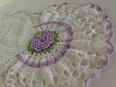 1960's Long Lavender Crochet Lace Dresser Scarf ~ Vintage Handmade Doily ~ Floral Centerpiece Display ~ Cottage Chic Vtg Home Accents on Etsy, $25.00