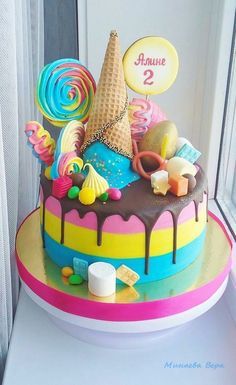 Ice cream candy drip cake She wants the ICECREAM CONE dripping onto cake. So like this picture has blue icecream, she wants chocolate icecream dripping all over top Candy Birthday Cakes, Creative Birthday Cakes, Ice Cream Birthday Cake, Candy Cakes, Birthday Cake Girls, Creative Cakes, Cupcake Cakes, Candy Theme Cake, Shopkins Birthday Cake