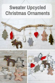 These are super cute easy to make upcycled Christmas ornaments.  Made with old sweaters and cookie cutter shapes.
