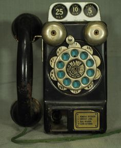 vintage old Toy tin Pla Pay Phone Telephone antique cell phone Gong Bell mfg co.