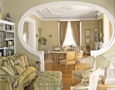 House interior - Elegant city house, living room from the sitting room is an archway rimmed in tooled leather My Living Room, Living Room Interior, Living Room Decor, Living Spaces, Dining Room, Room Kitchen, Dining Area, Antique Living Rooms, Casa Clean