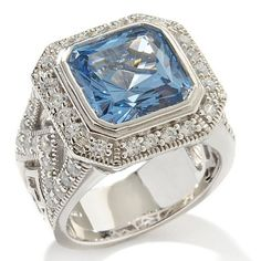 Victoria Wieck 6.15ct Absolute and Aquamarine Simulant Vintage Frame Ring 6 #VictoriaWieck #SolitairewithSideAccent