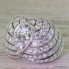 Art Deco 4.68 Carat Old Cut Diamond Bombe Cluster Ring, French, circa 1940