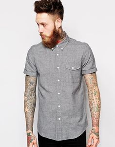 Image 1 of ASOS Shirt In Short Sleeve With Twist Yarn
