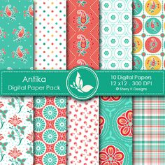 Antika - beautiful digital papers in coral and green.  Great for scrapbooking, making cards, invitations, gift tags and more.