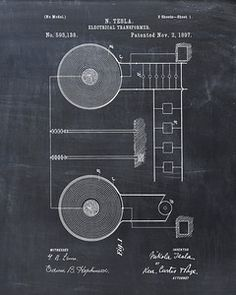 Tesla Electrical Transformer Patent Print